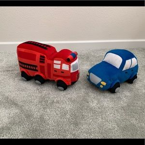 Pillowfort firetruck and police car mini pillows
